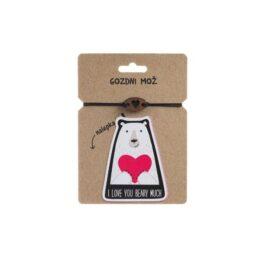 Lesena zapestnica I love you beary much