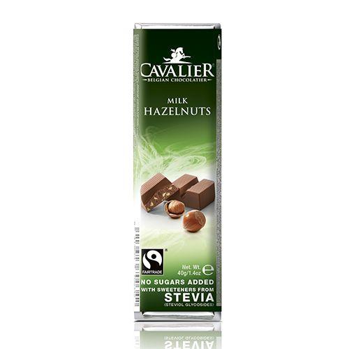 Mlečna čokolada brez sladkorja lešnik Cavalier 40g